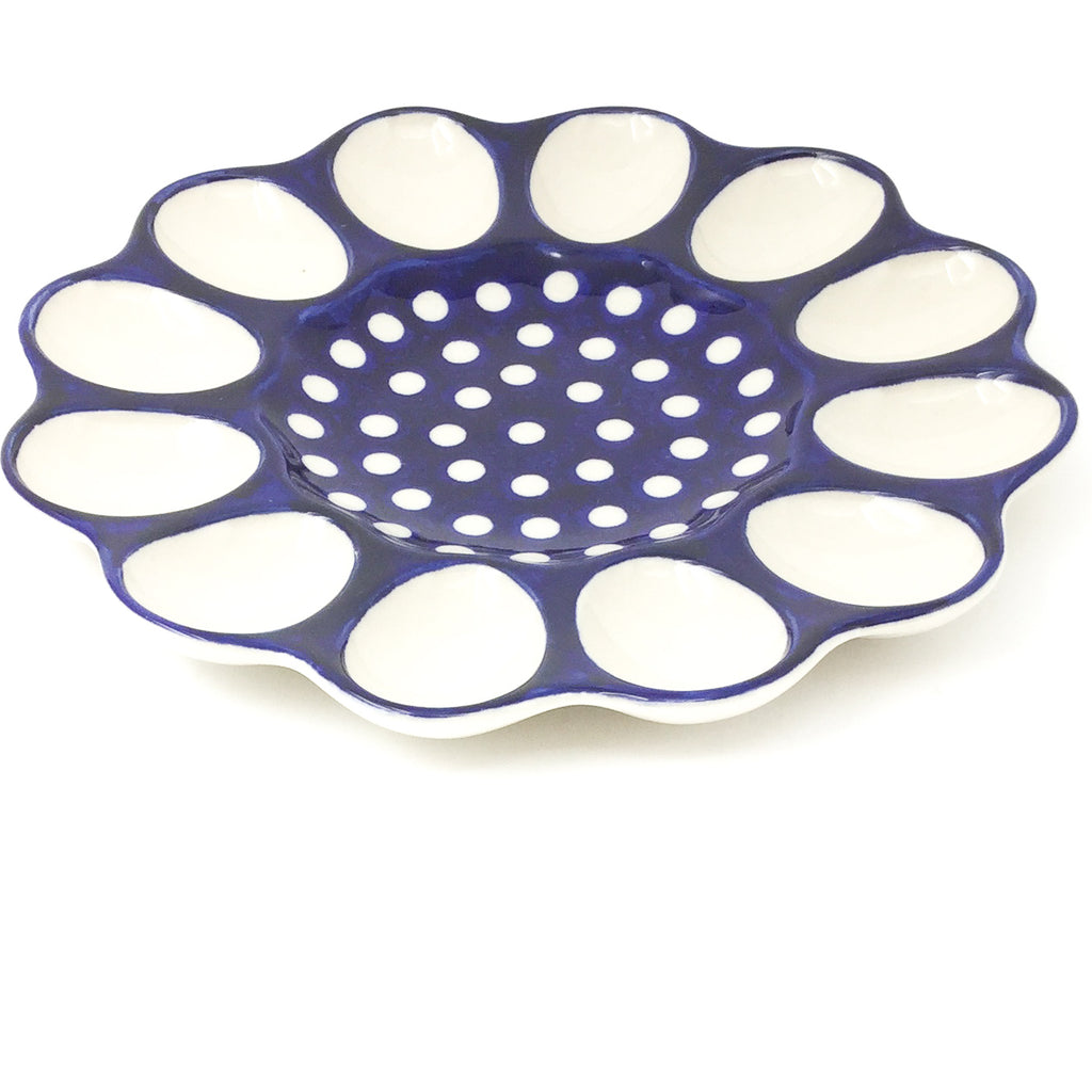 Deviled Egg Plate in White Polka-Dot
