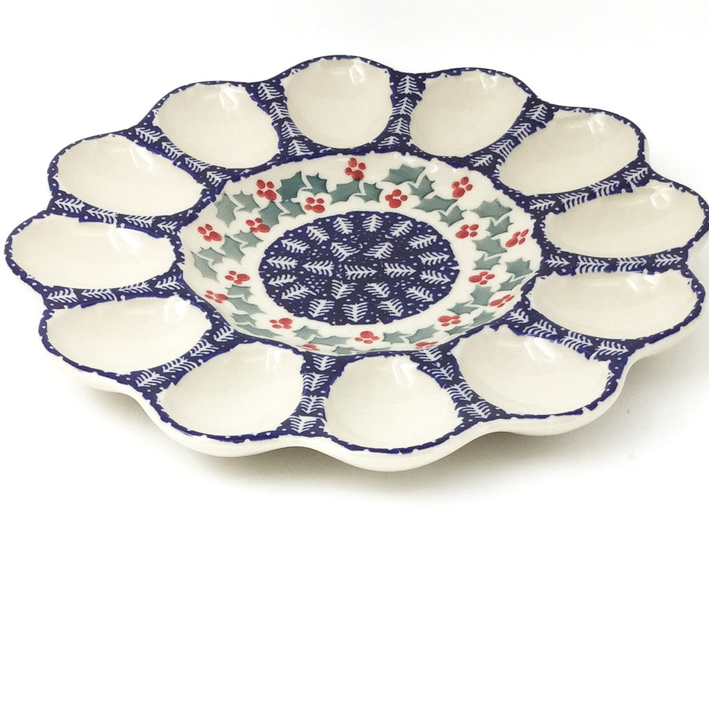 Deviled Egg Plate in Winter Holly