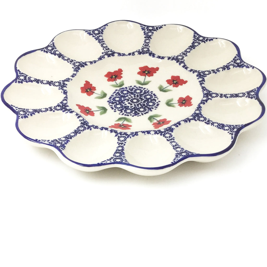 Deviled Egg Plate in Red Daisy