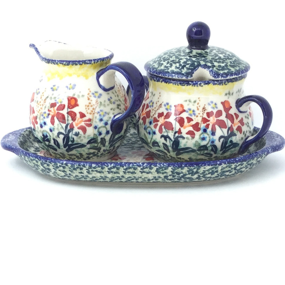 Creamer & Sugar Set w/Tray in Country Summer