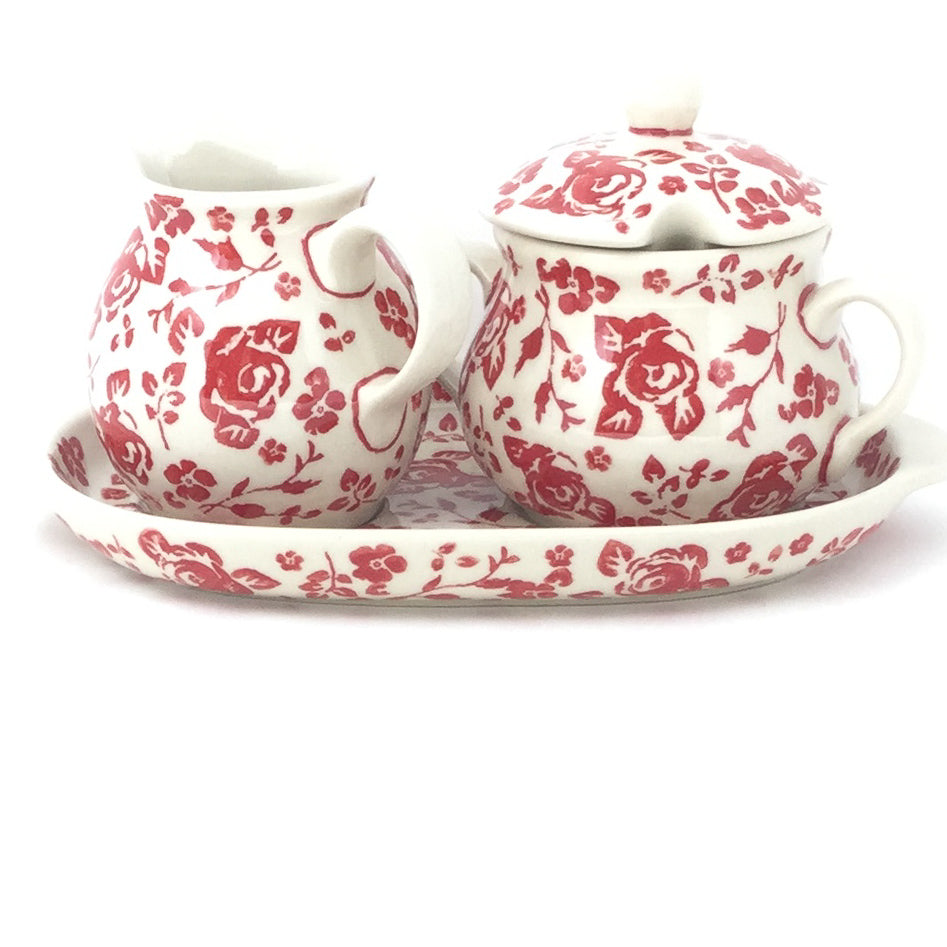 Creamer & Sugar Set w/Tray in Antique Red