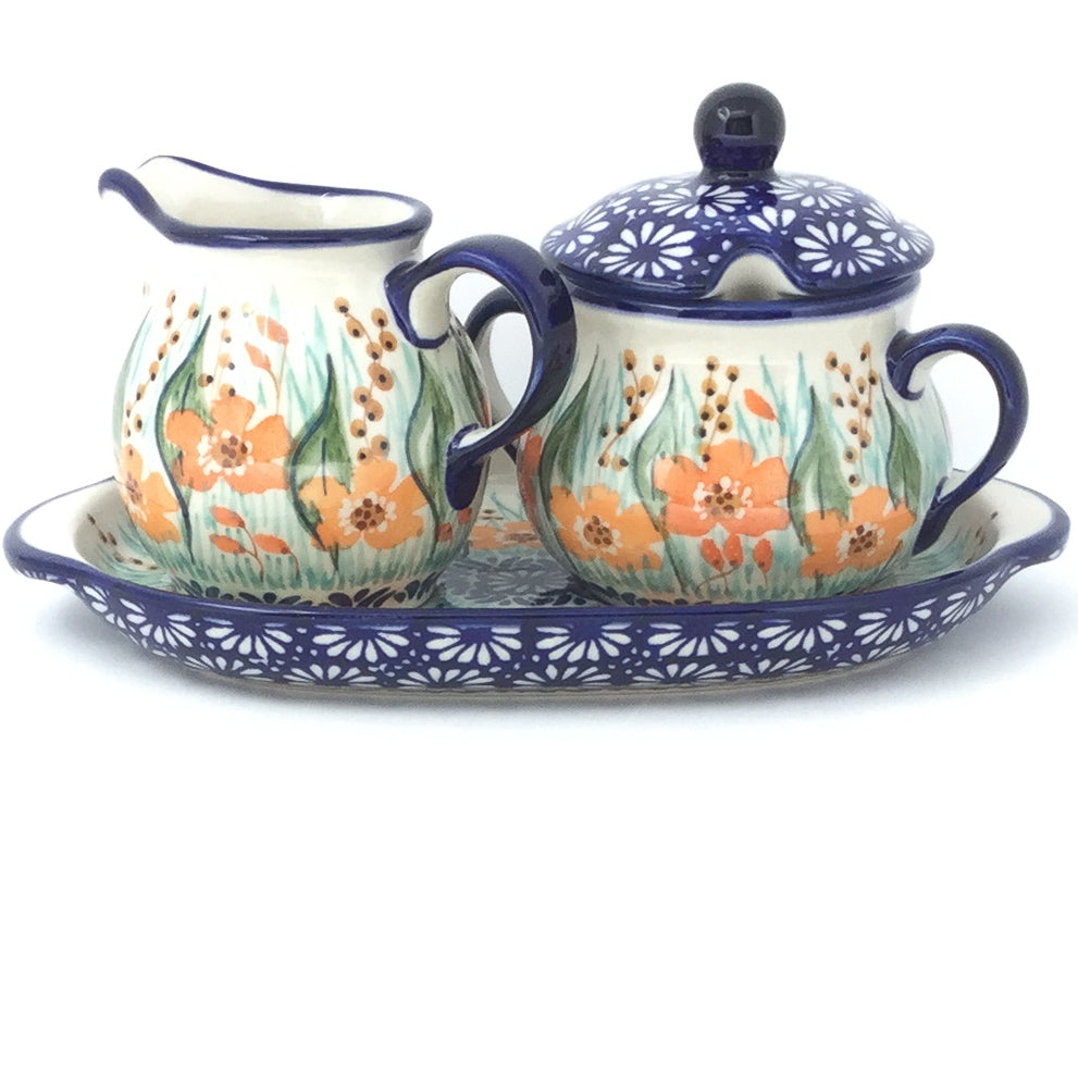 Creamer & Sugar Set w/Tray in Sunshine Meadow