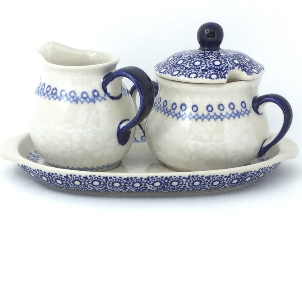 Creamer & Sugar Set w/Tray in Delicate Blue