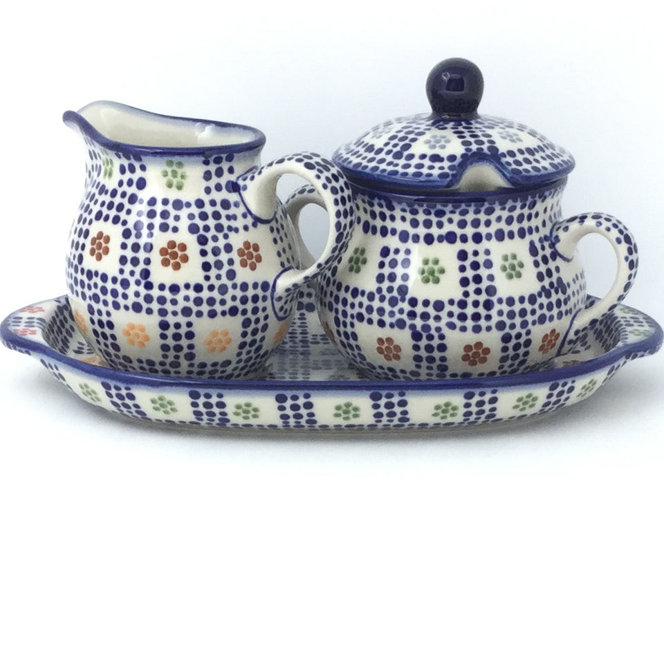 Creamer & Sugar Set w/Tray in Modern Checkers