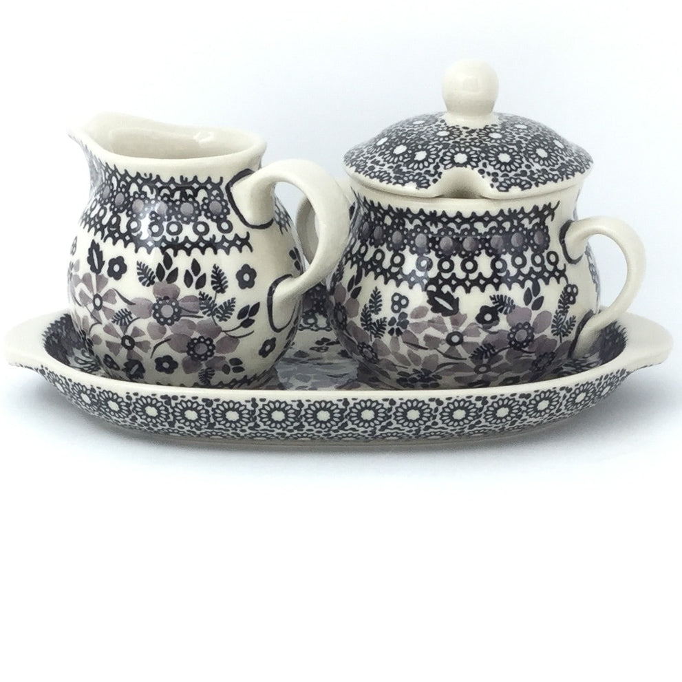 Creamer & Sugar Set w/Tray in Gray & Black