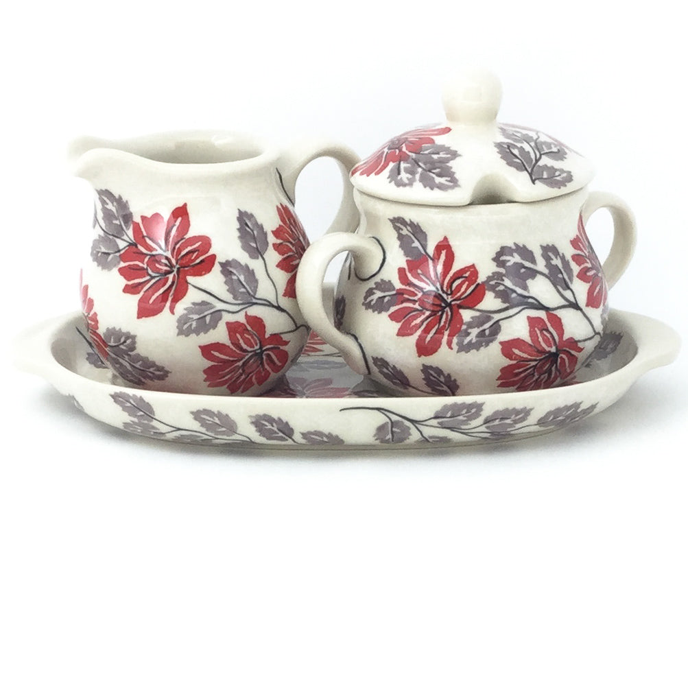 Creamer & Sugar Set w/ Tray in Red & Gray