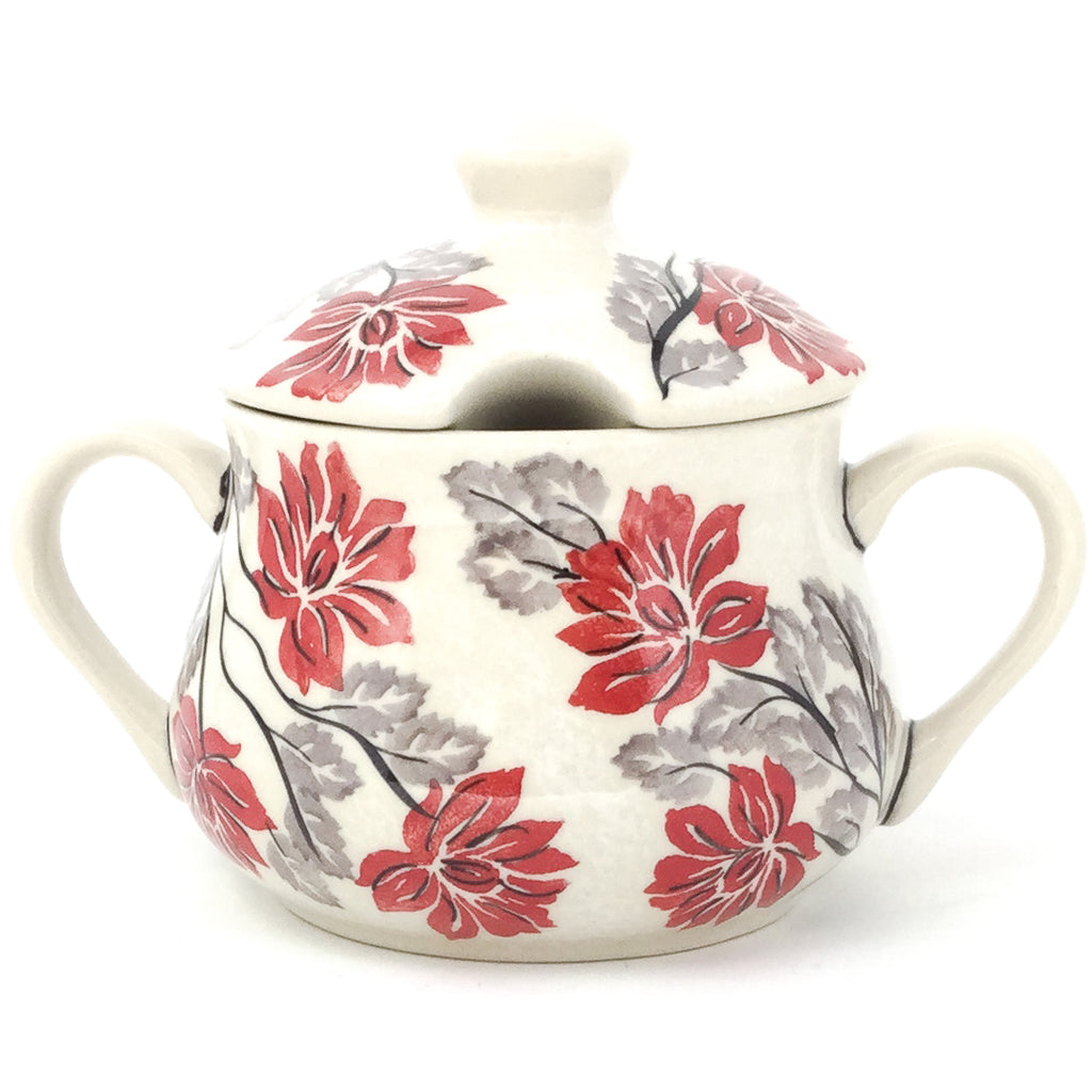 Family Style Sugar Bowl 14 oz in Red & Gray