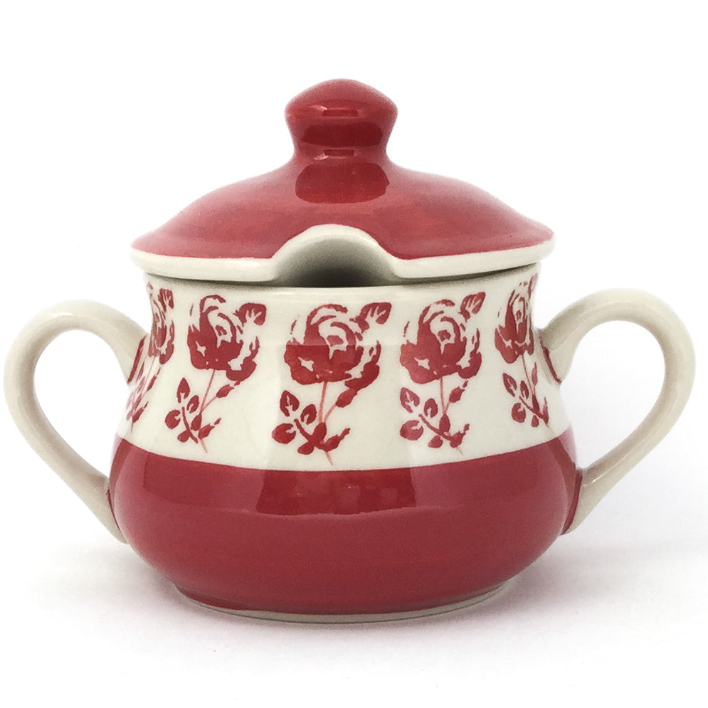 Family Style Sugar Bowl 14 oz in Red Rose