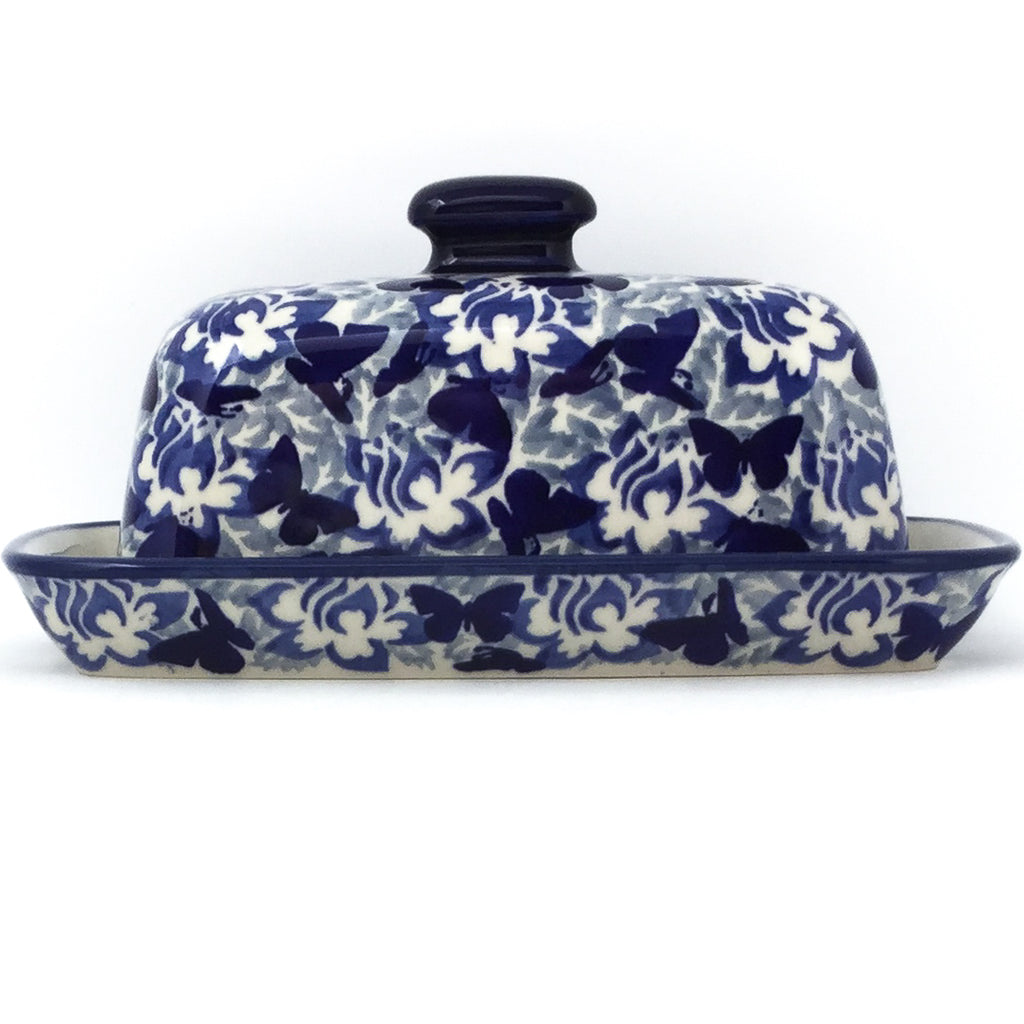 Butter Dish in Blue Butterfly