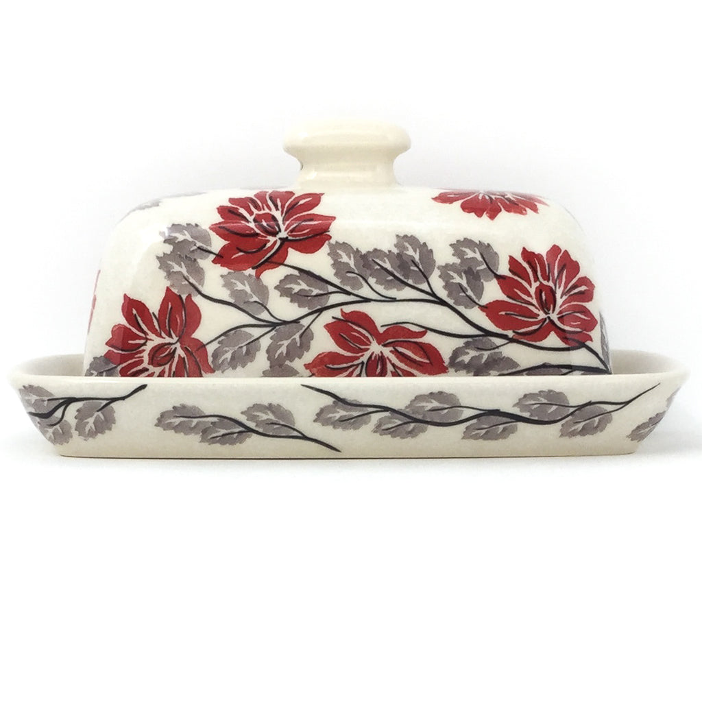 Butter Dish in Red & Gray