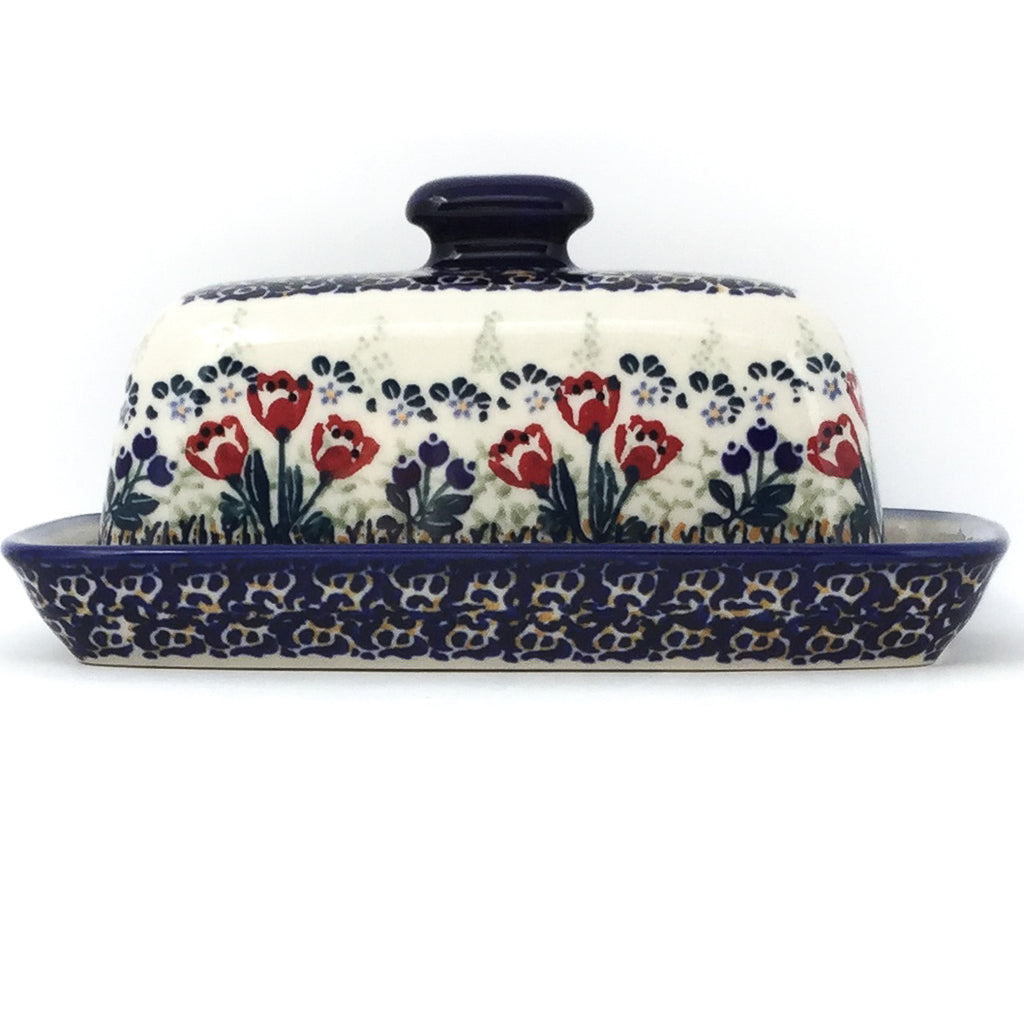 Butter Dish in Red Tulips
