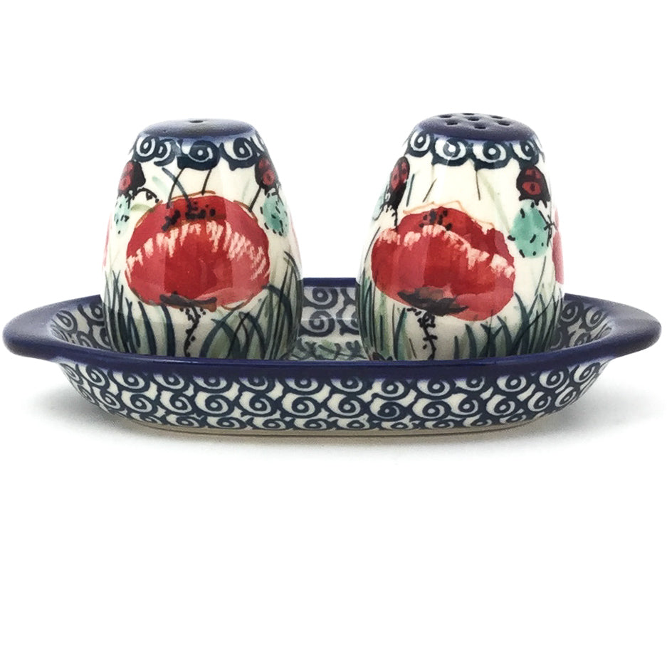 Salt & Pepper Set w/Tray in Polish Poppy