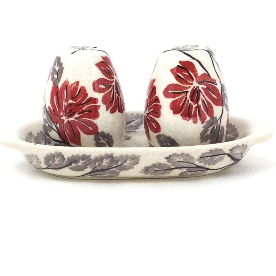 Salt & Pepper Set w/Tray in Red & Gray