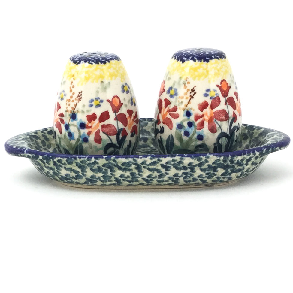 Salt & Pepper Set w/Tray in Country Summer