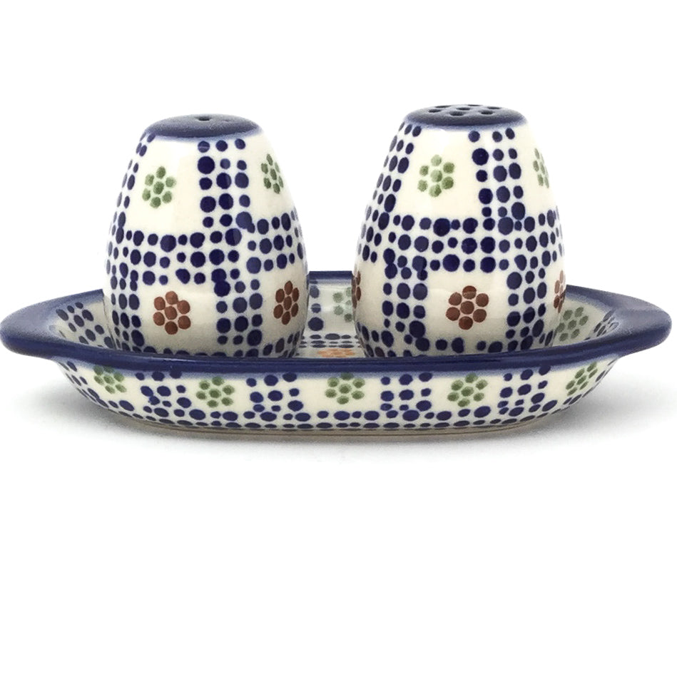 Salt & Pepper Set w/Tray in Modern Checkers