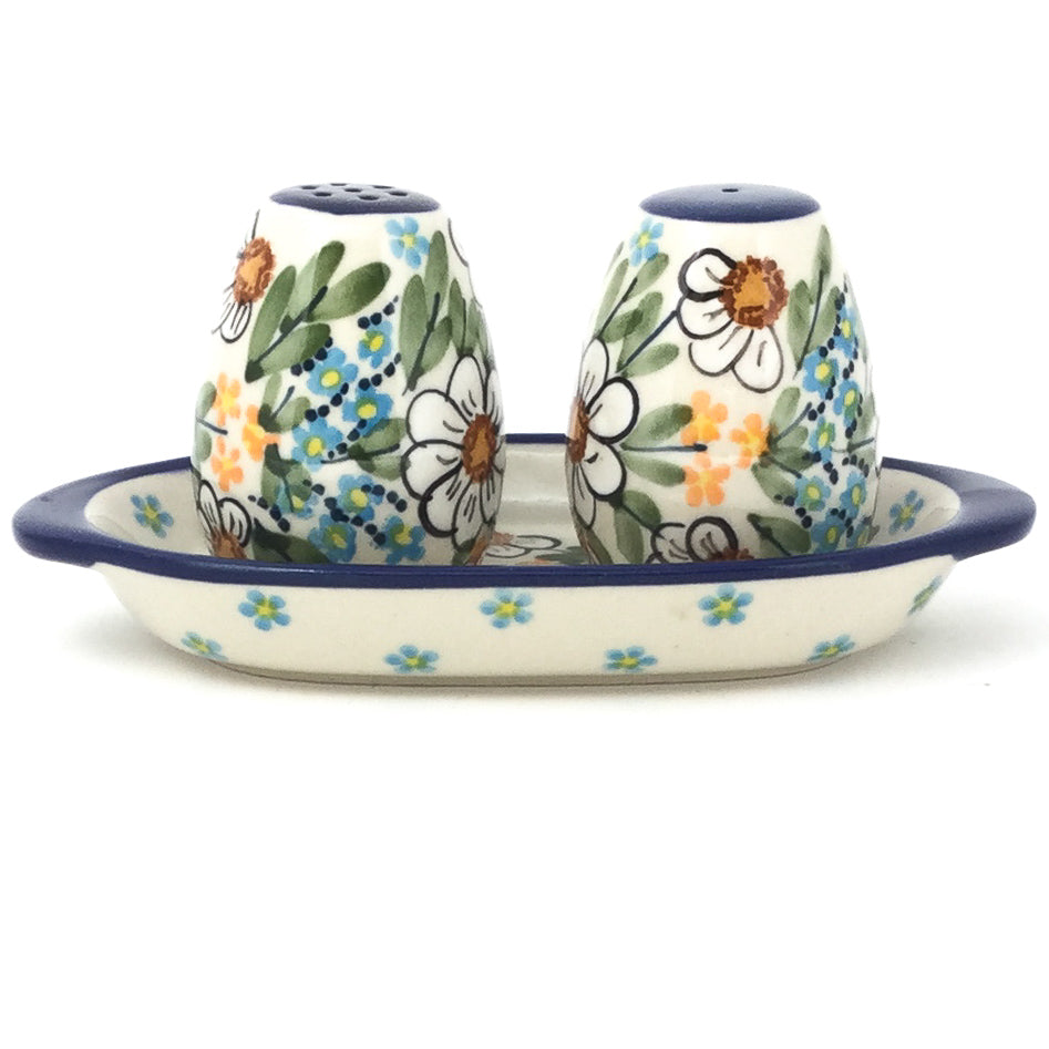 Salt & Pepper Set w/Tray in Spectacular Daisy