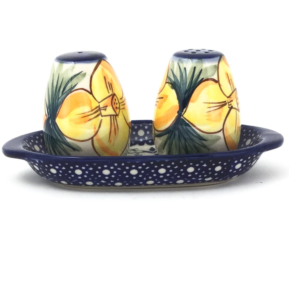 Salt & Pepper Set w/Tray in Daffodils