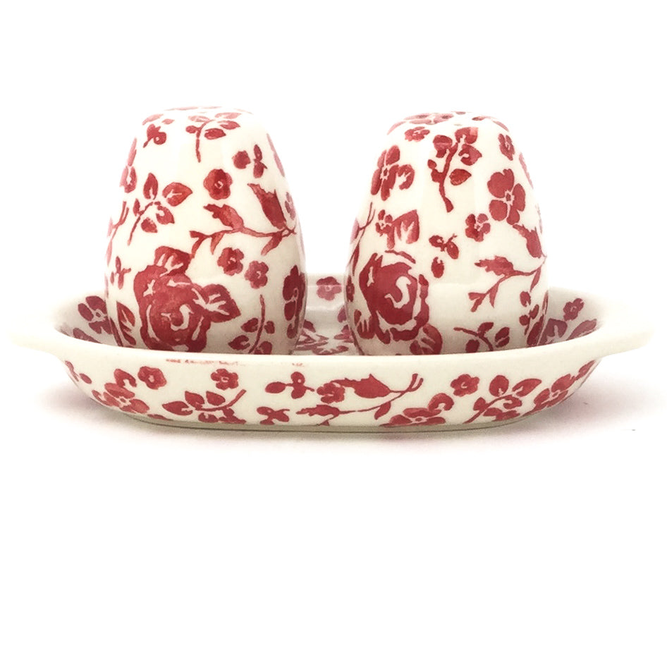 Salt & Pepper Set w/Tray in Antique Red
