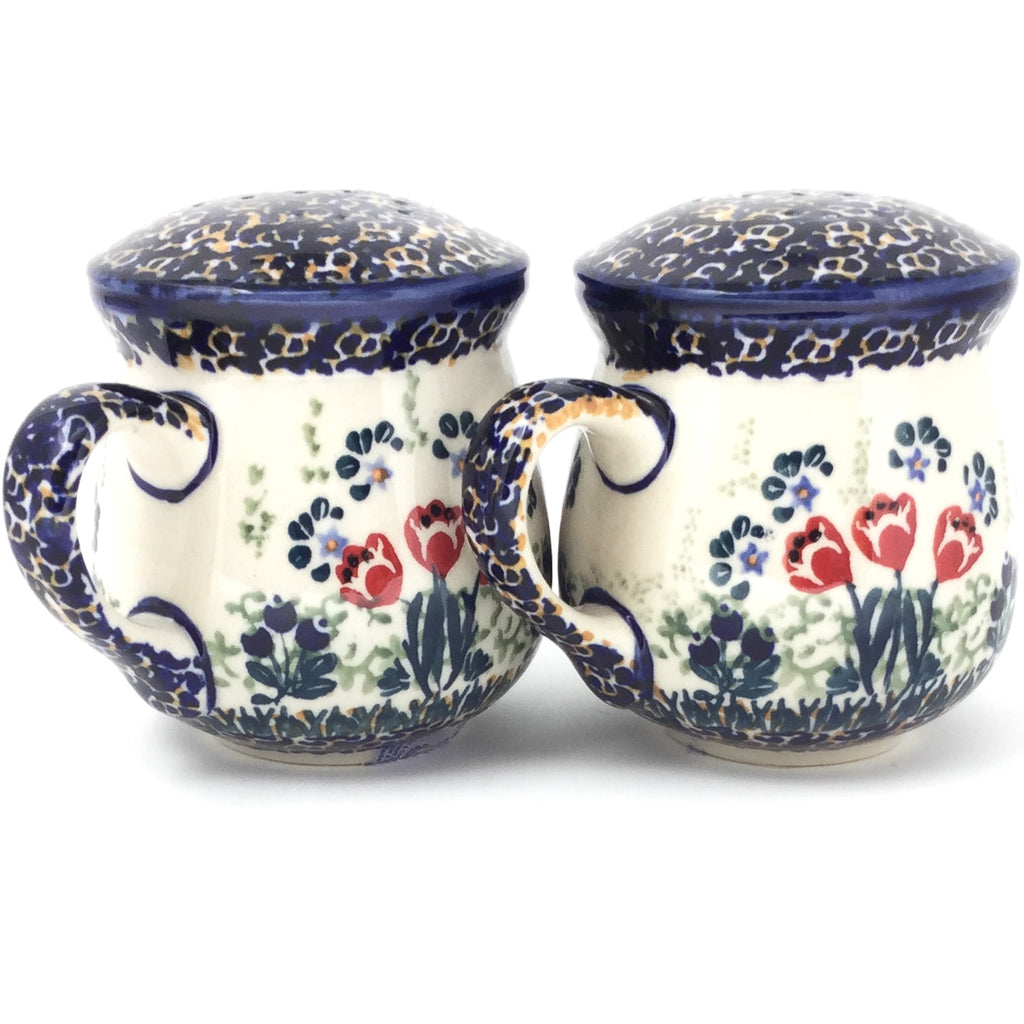 Salt & Pepper Mug Set in Red Tulips
