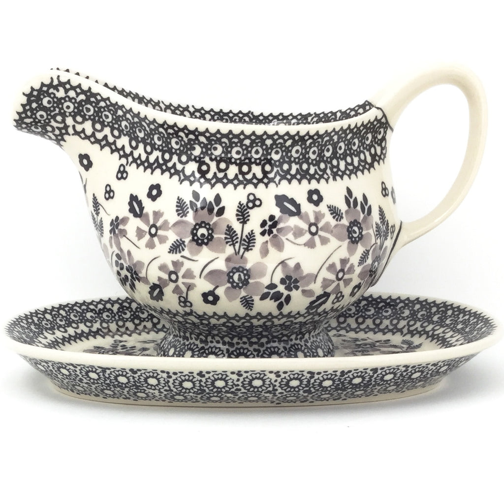 Gravy Boat w/Tray 1 qt in Gray & Black