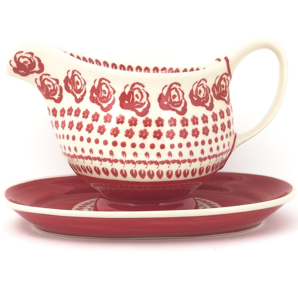 Gravy Boat w/Tray 1 qt in Antique Red