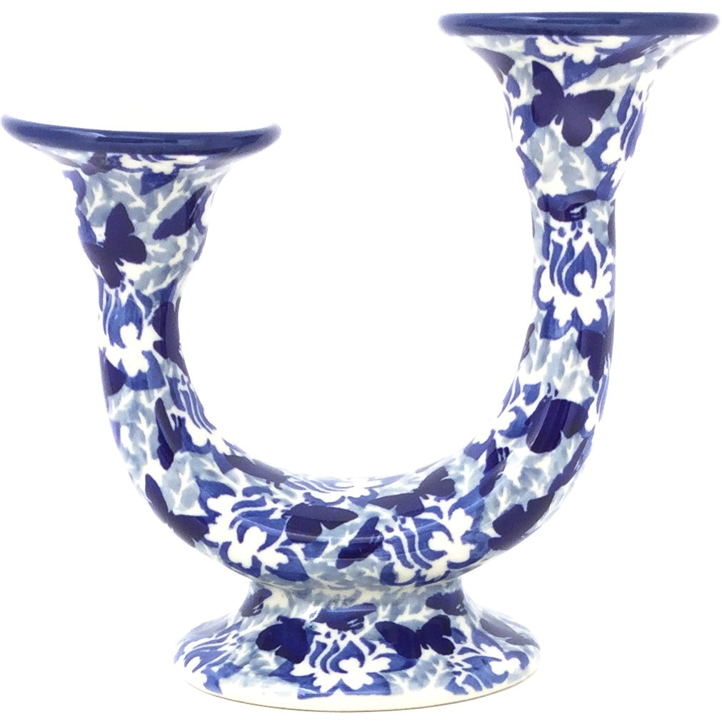 Double Candle Holder in Blue Butterfly