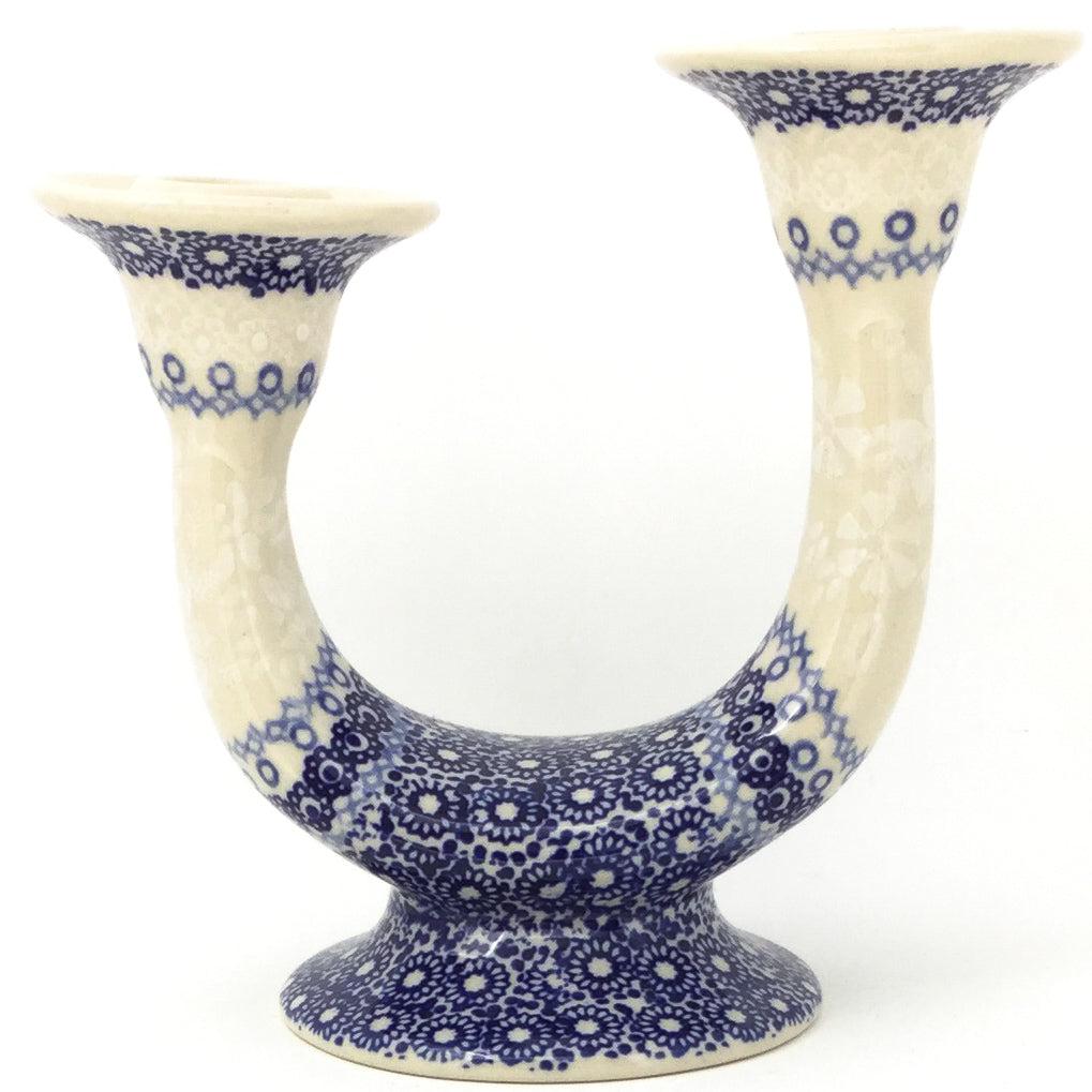 Double Candle Holder in Delicate Blue