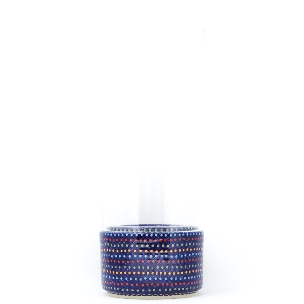 Sm Glass Candle Holder in Multi-Colored Dots