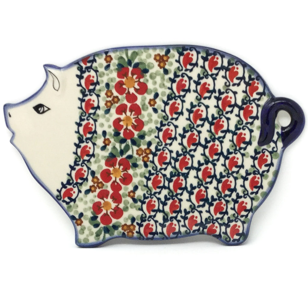 Piggy Cutting Board in Red Poppies