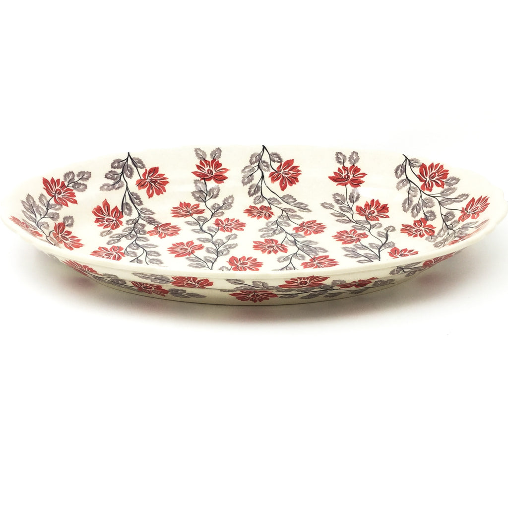 Oval Basia Platter in Red & Gray