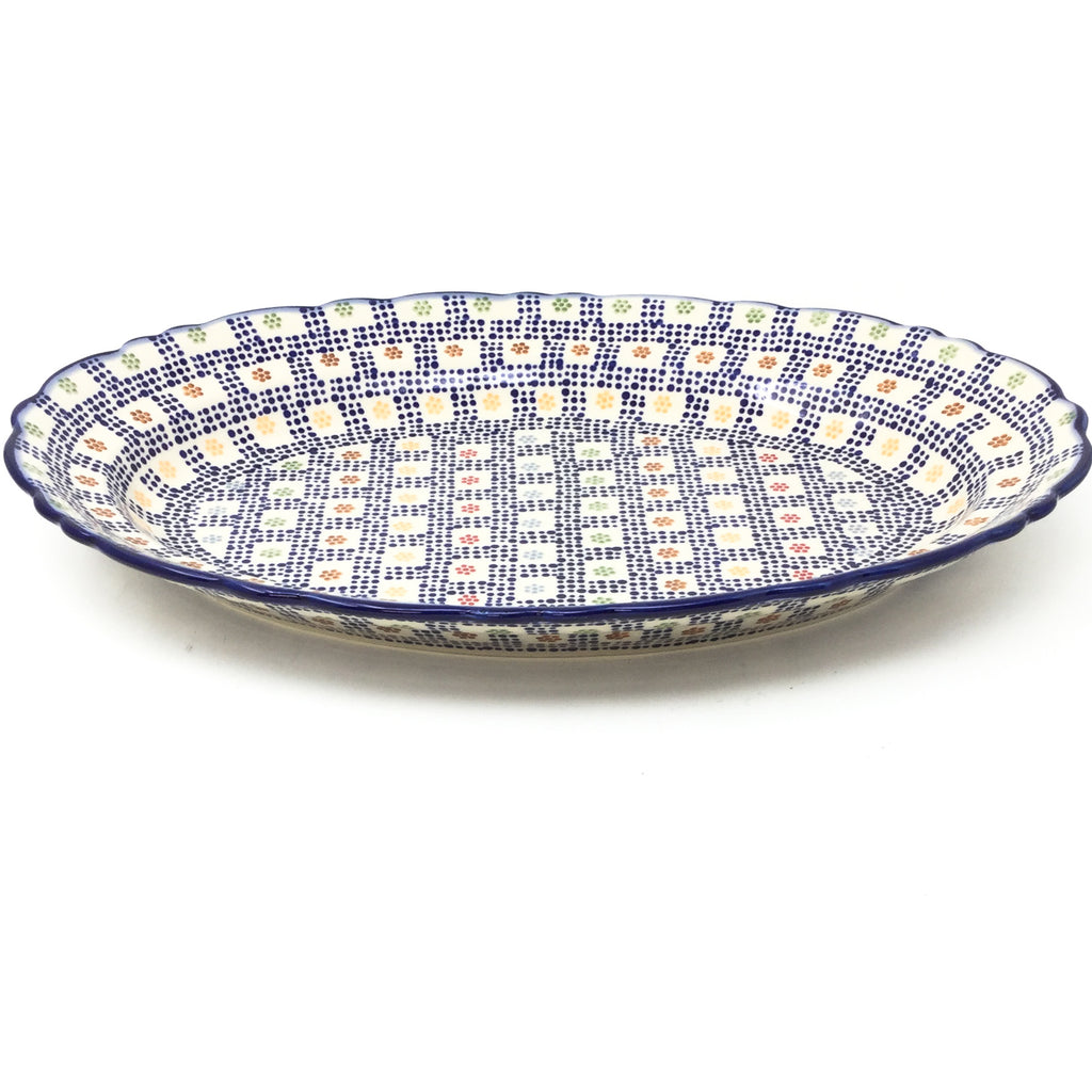 Oval Basia Platter in Modern Checkers