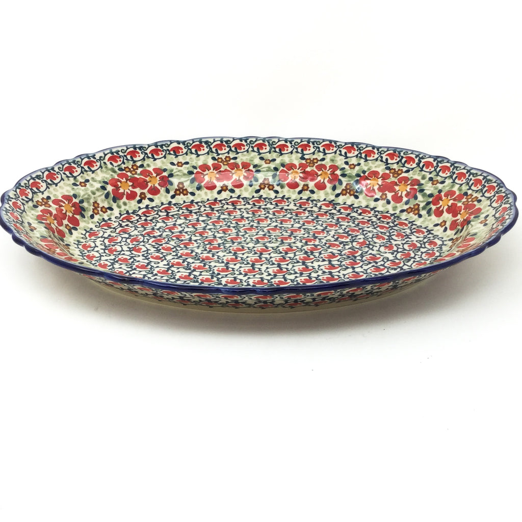 Oval Basia Platter in Red Poppies