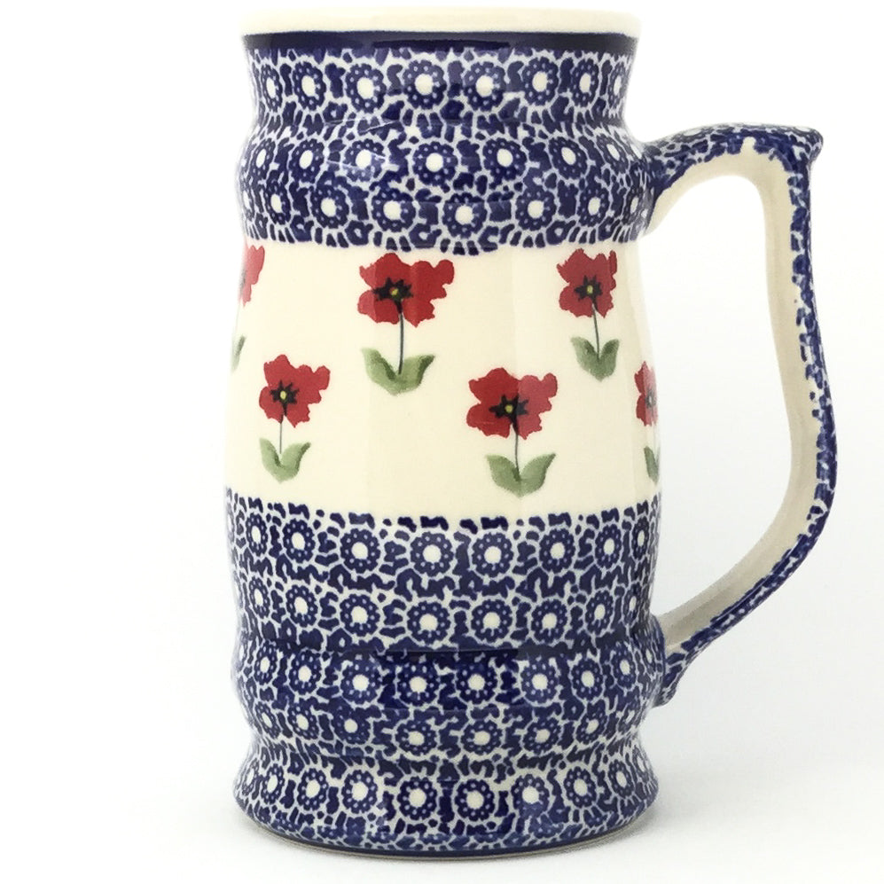 Large Beer Stein 28 oz in Red Daisy