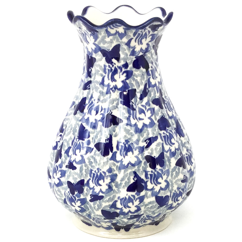 Scalloped Vase in Blue Butterfly