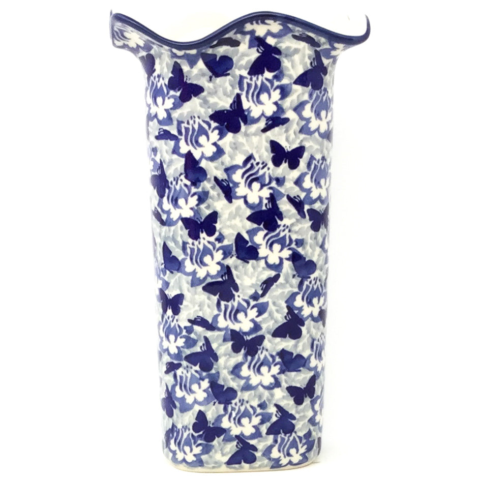 Fluted Vase in Blue Butterfly