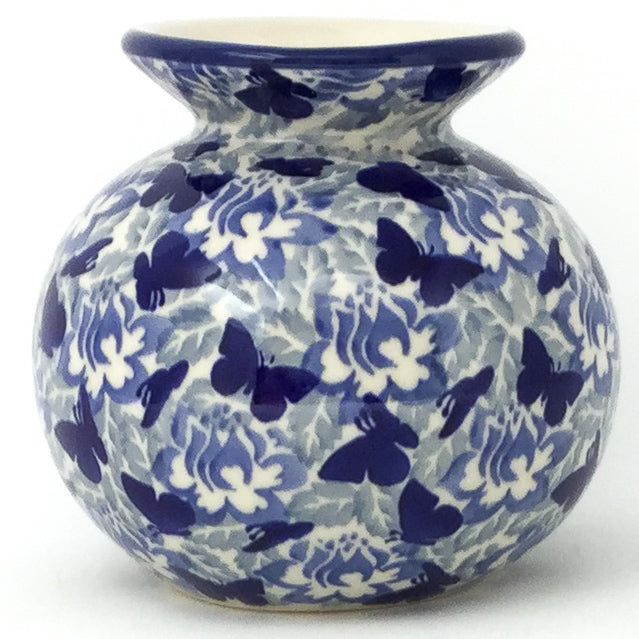 Round Vase in Blue Butterfly