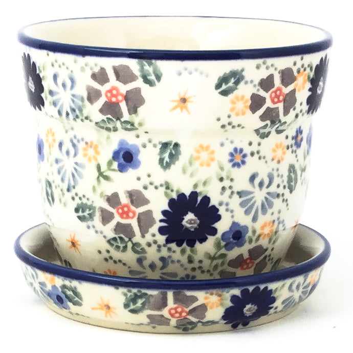 Sm Flower Pot w/Plate in Morning Breeze