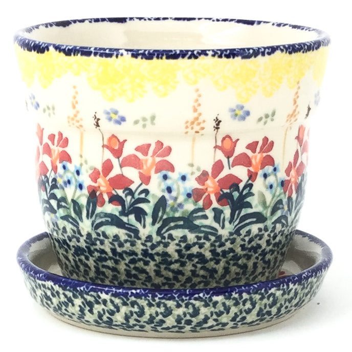 Sm Flower Pot w/Plate in Country Summer