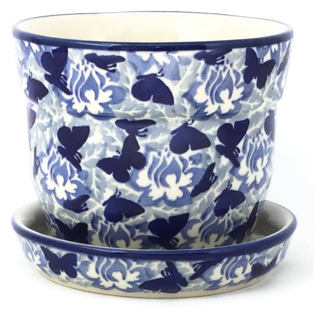 Sm Flower Pot w/Plate in Blue Butterfly