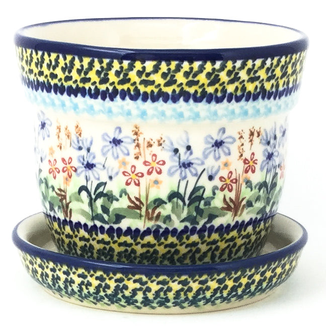 Sm Flower Pot w/Plate in Country Spring
