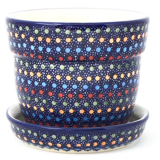 Sm Flower Pot w/Plate in Multi-Colored Dots