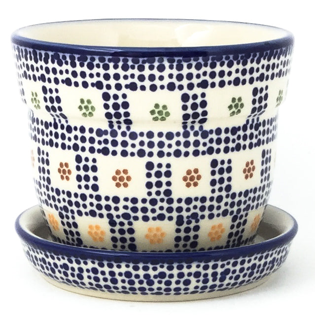 Sm Flower Pot w/Plate in Modern Checkers