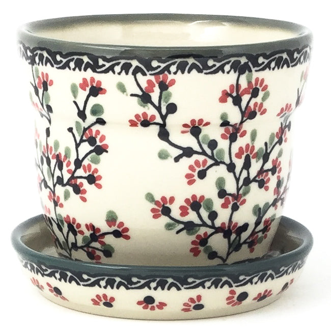 Sm Flower Pot w/Plate in Japanese Cherry