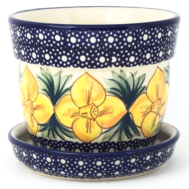 Sm Flower Pot w/Plate in Daffodils