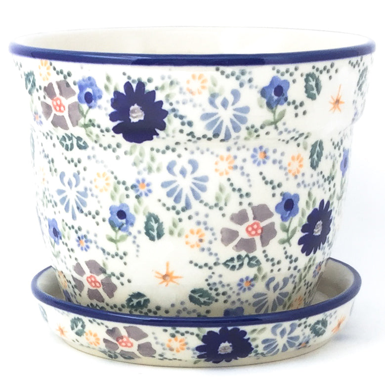 Md Flower Pot w/Plate in Morning Breeze