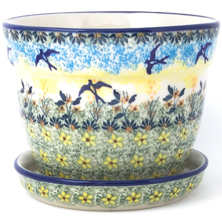 Md Flower Pot w/Plate in Birds