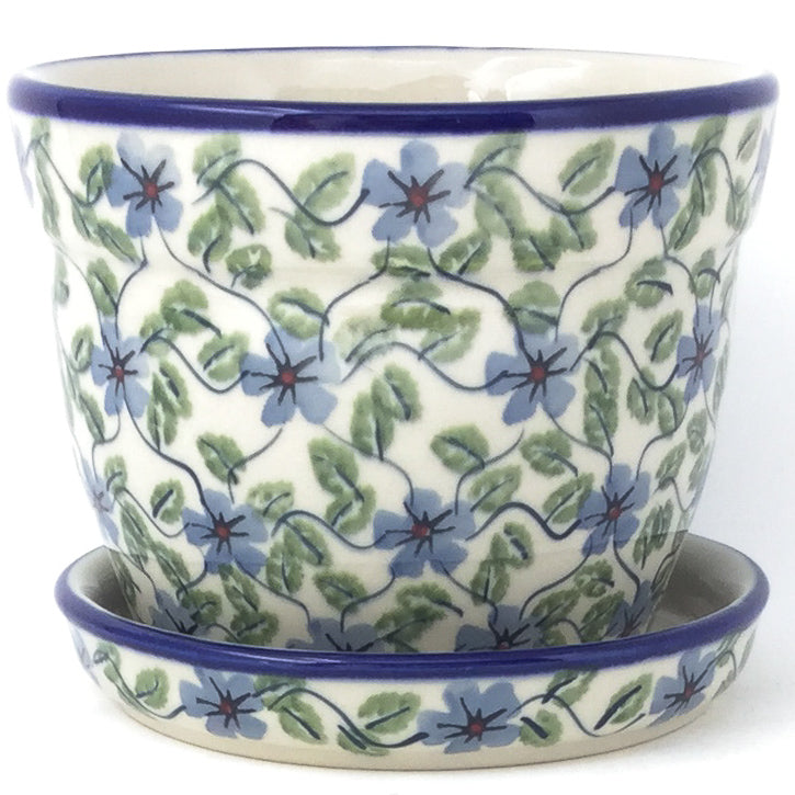 Md Flower Pot w/Plate in Blue Clematis