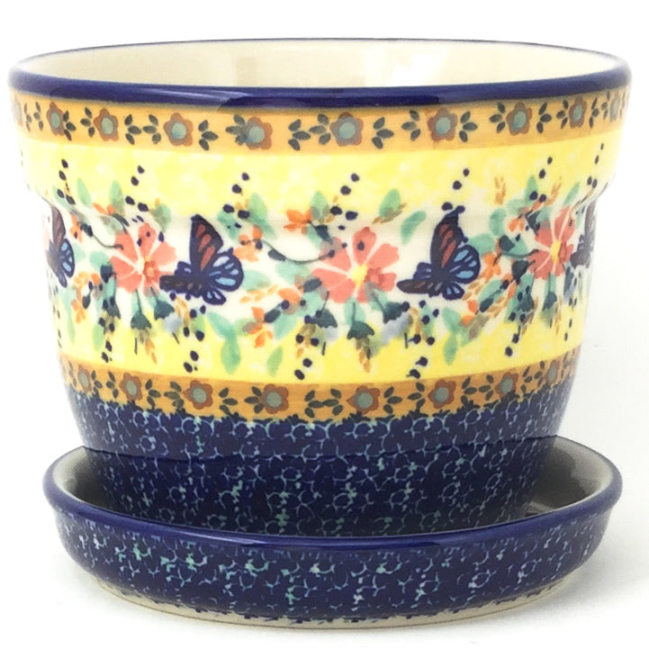 Md Flower Pot w/Plate in Butterfly Meadow