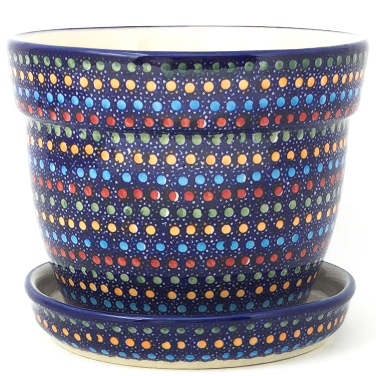 Md Flower Pot w/Plate in Multi-Colored Dots