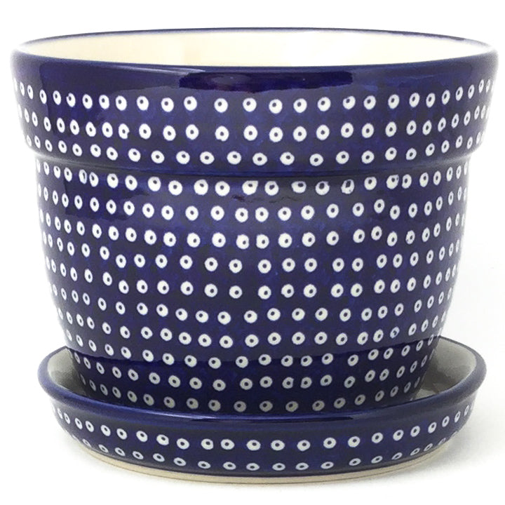Lg Flower Pot w/Plate in Blue Elegance
